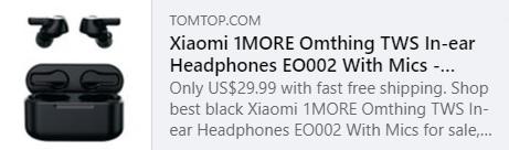 1 MAIS Omthing TWS fones de ouvido EO002 com microfones Preço: $ 25,99